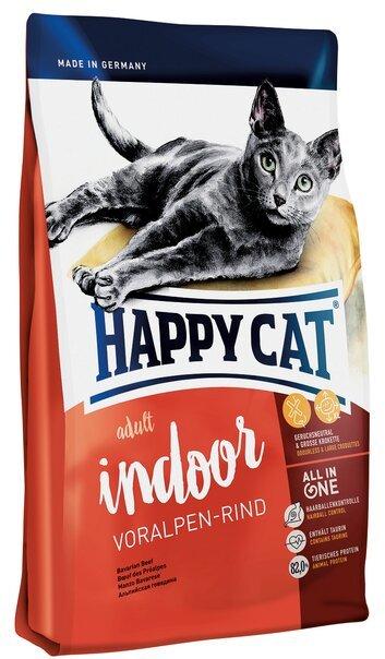 купить Happy Cat Supreme Adult Indoor Voralpen-rind сухой корм для домашних кошек с альпийской говядиной
