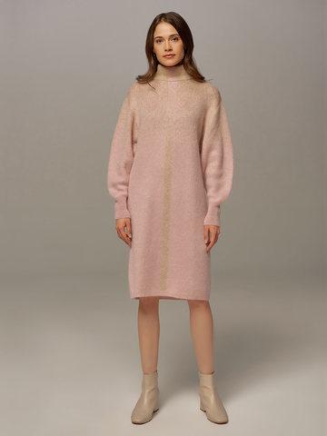 Женское платье светло-розового цвета с объемными рукавами - фото 1