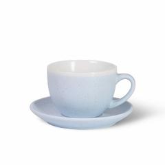 6064 FISSMAN Чашка 330мл с блюдцем, цвет Голубой (керамика)