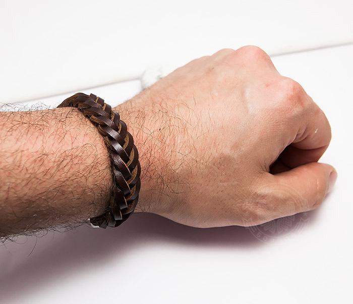 BM451-2 Мужской браслет из натуральной кожи коричневого цвета (19 см) фото 06
