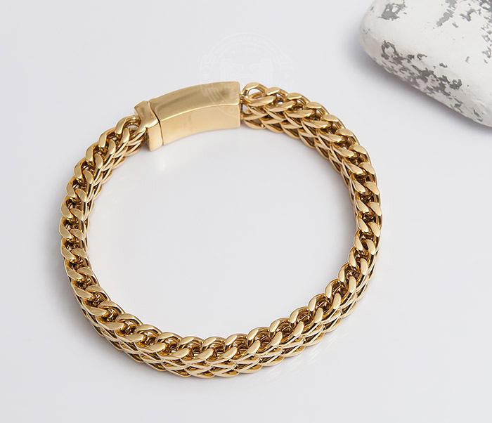 BM477 Массивный мужской браслет золотого цвета (21 см) фото 03