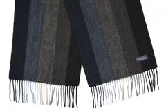 Шерстяной шарф, мужской полосатый черно-серый 31272