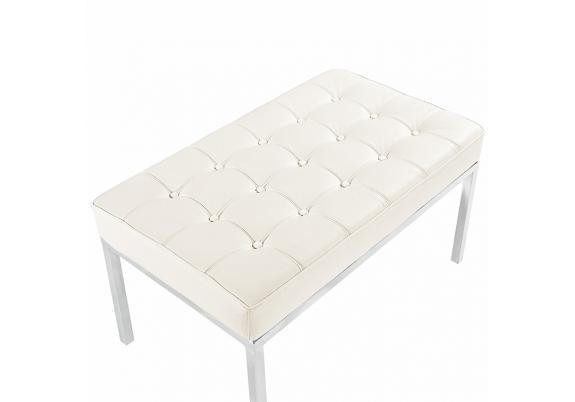 Скамья Florence Knoll Style Bench белая кожа - вид 4