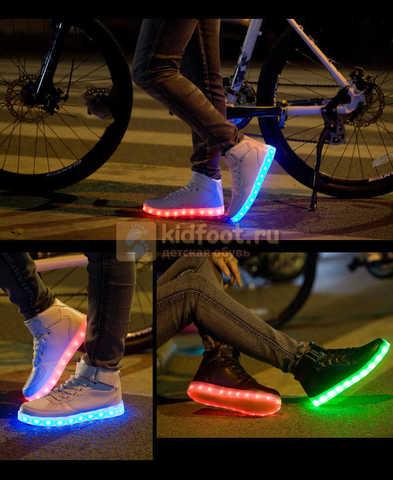 Светящиеся высокие кроссовки с USB зарядкой Fashion (Фэшн) на шнурках и липучках, цвет белый, светится вся подошва. Изображение 18 из 27.