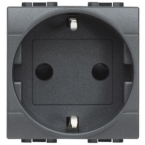 Розетка 2К+З, 10/16 А 250 В с заземляющими контактами Schuko,клеммы с автоматическим зажимом, с защитными шторками, 2 модуля. Цвет Антрацит. Bticino Livinglight. L4141AN