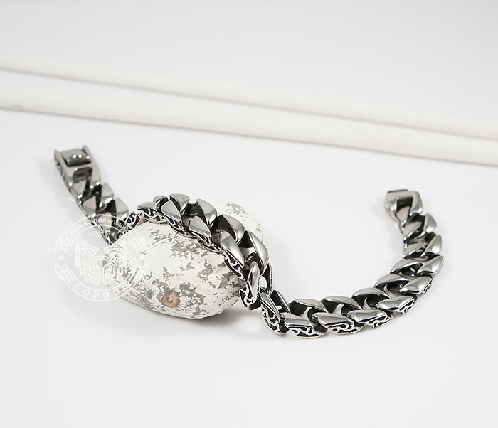 BM387 Стильный мужской браслет из стали с гравировкой на звеньях (21 см)