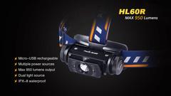 Фонарь налобный Fenix HL60R 950lm аккумуляторный (желтый)