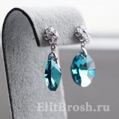 Серьги с сине-голубыми кристаллами Сваровски