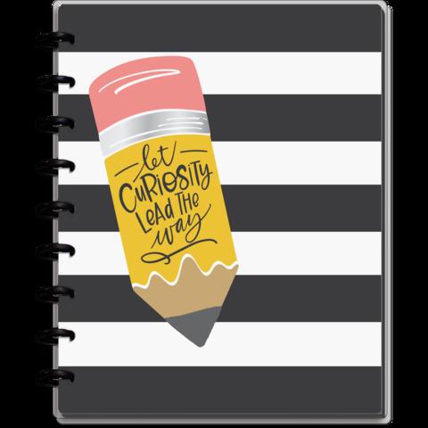 Блокнот для учеников и студентов в пунктирную линию с доп украшениями  Happy Planner Classic Happy Notes Kit Curious Pencil -  19,5х24,5см