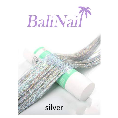 Блестящие пряди (нити) для волос #1 (серебро голограф.)