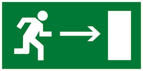 Эвакуационный знак Е03 - Направление к эвакуационному выходу направо