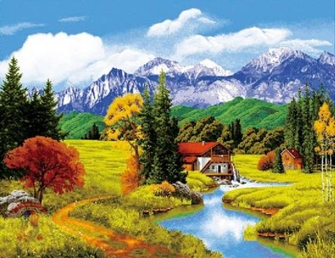 Алмазная Мозаика 40x50 Дом у гор (арт. HWSA5023)
