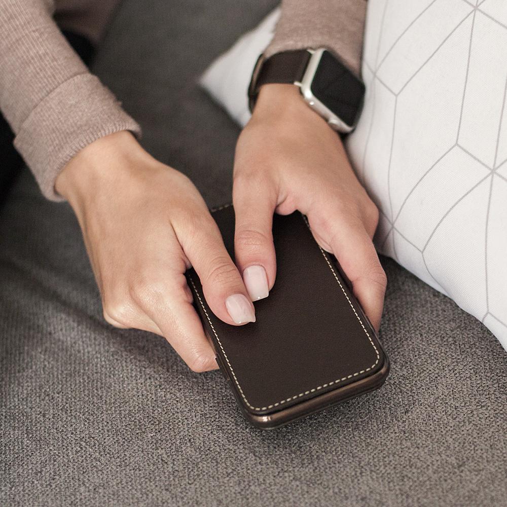 Чехол для iPhone 11 Pro из натуральной кожи теленка, темно-коричневого цвета