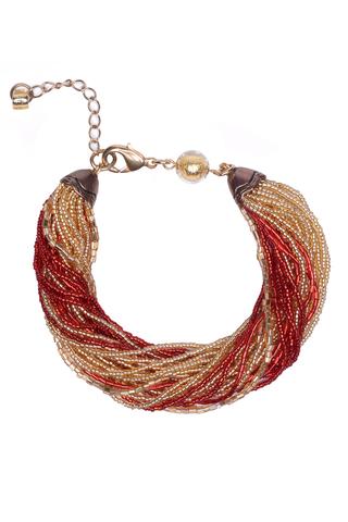 Бисерный браслет, 24 нити, золотисто-красный
