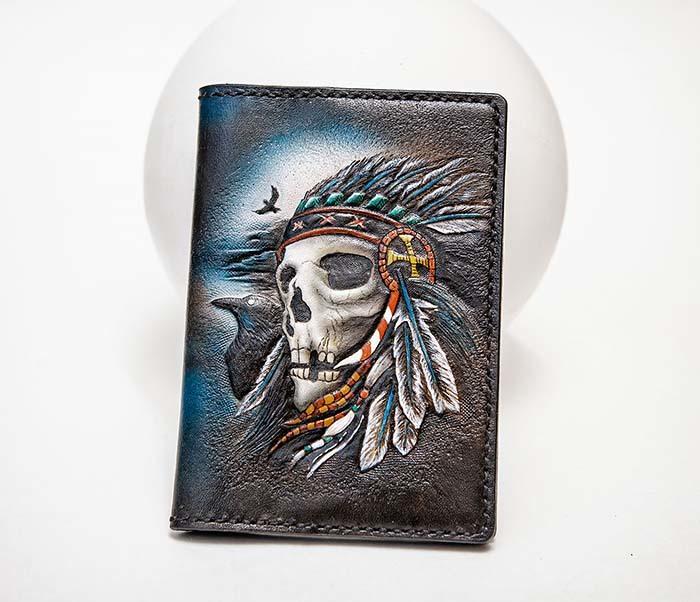 BC226 Обложка на паспорт ручной работы с черепом индейца