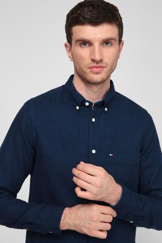 Мужская темно-синяя рубашка DOUBLEFACE HERRINGBONE Tommy Hilfiger