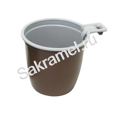 Чашки кофейные (Пластик, коричневый, 180 мл, 50 шт/упк)
