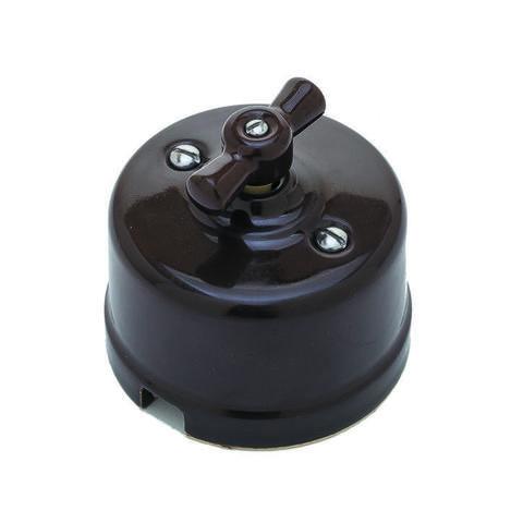 Выключатель керамический 2 клавишный (коричневый)