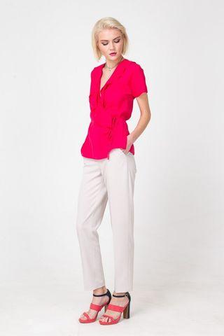 Фото розовая блузка с поясом и рюшами на вырезе - Блуза Г670а-117 (1)