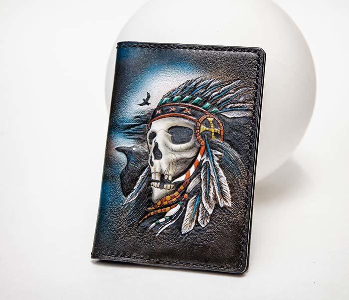 BC226 Обложка на паспорт ручной работы с черепом индейца фото 02