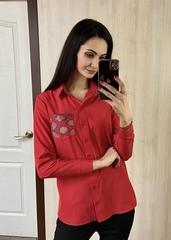 Андреа. Класична сорочка зі стразами. Червоний