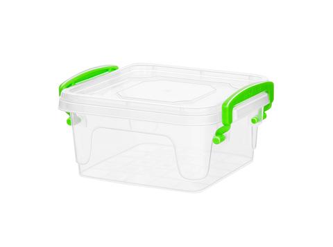 Контейнер для хранения Fresh Box 1,2 литра квадратный с крышкой прозрачный/салатовый Эльфпласт 10,3х15,7х14,3 см