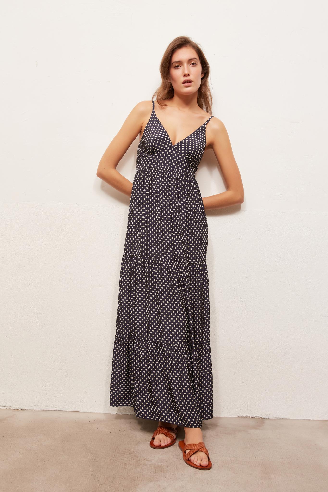 Платье макси в горошек