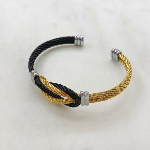Браслет кабельный с узлом (биколорный)