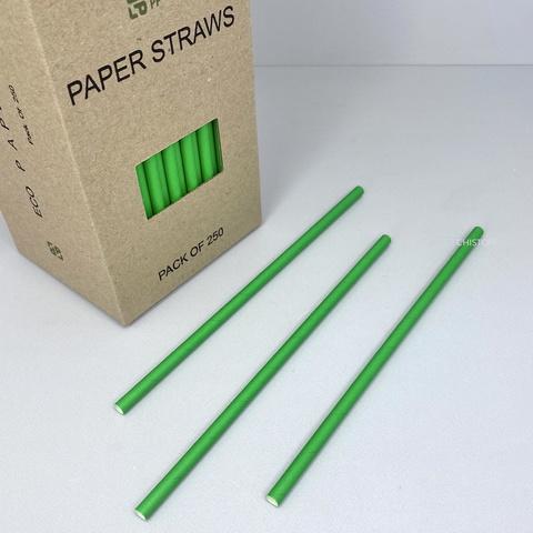 Трубочки бумажные (250 шт.) зеленые