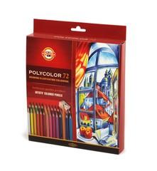 Набор художественных цветных карандашей POLYCOLOR 72 цвета, 2 штуки чернографитных карандаша 1500 и точилка в картонной коробке