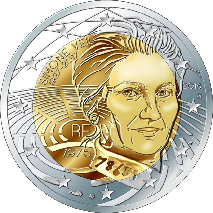 "2 евро ""Симона Вейль"" 2018 - Франция"