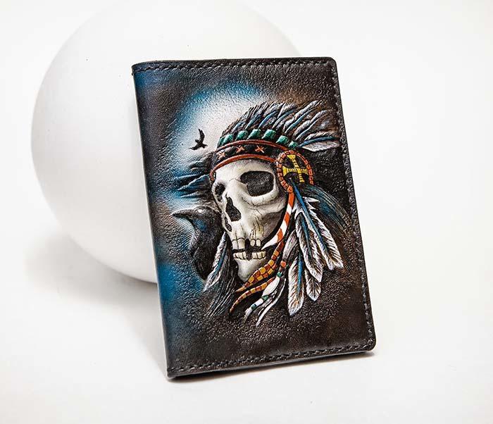 BC226 Обложка на паспорт ручной работы с черепом индейца фото 04