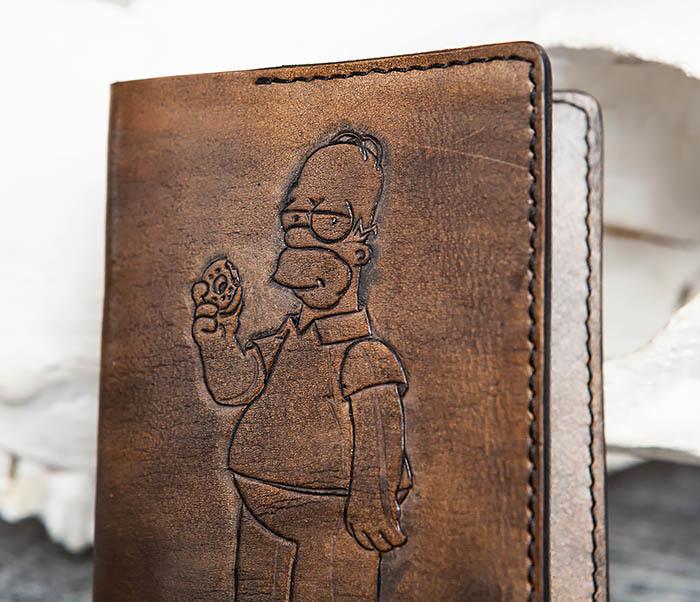 BC147 Обложка на паспорт с Гомером Симпсоном, ручная работа фото 02