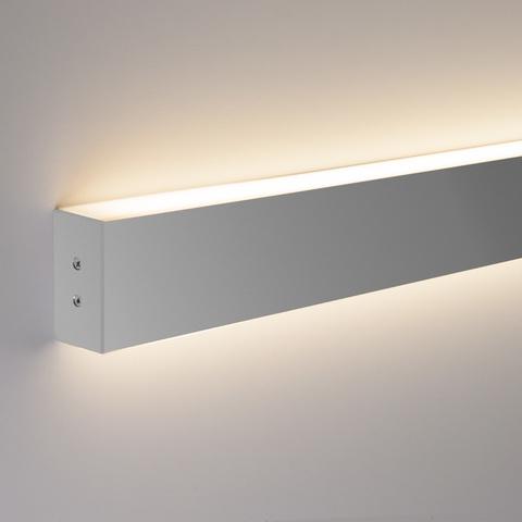 Линейный светодиодный накладной двусторонний светильник 128см 50Вт 4200К матовое серебро LS-02-2-128-4200-MS