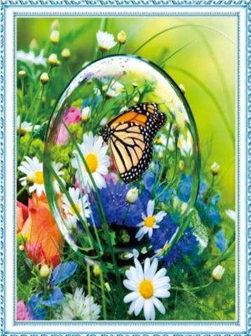 Алмазная Мозаика 50x65 Бабочка в мыльном пузыре