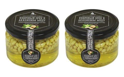 Набор (2 шт.) кедрового ореха в акациевом меду, 500 г