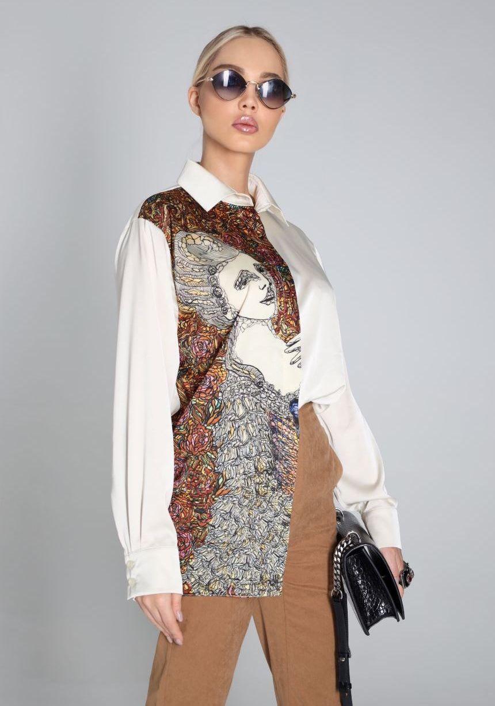 Шелковая рубашка цвета айвори с принтом