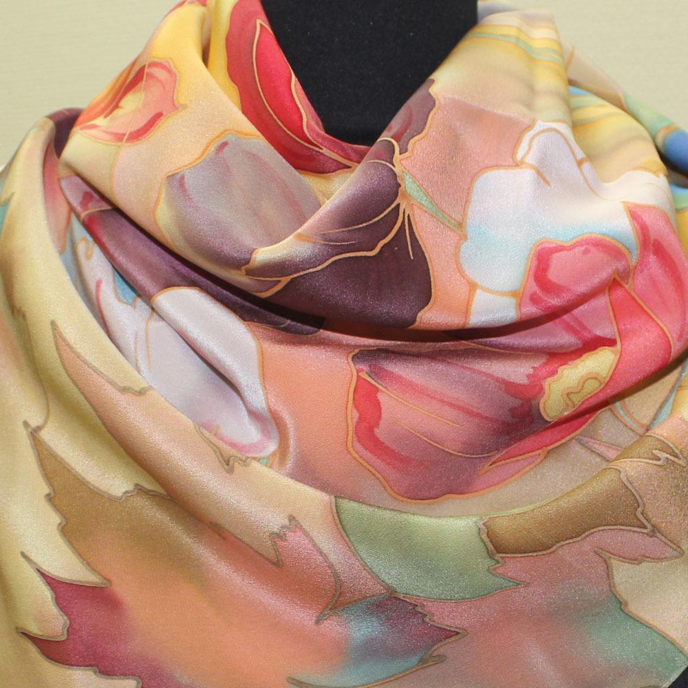 Шелковый платок батик Маки яркие C-60