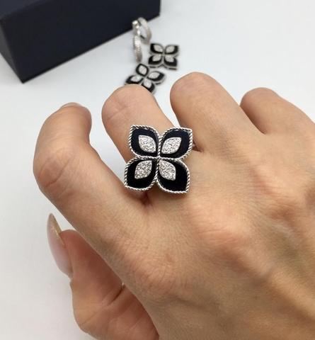 85137 - Кольцо R.COIN из серебра c фианитами и черной эмалью