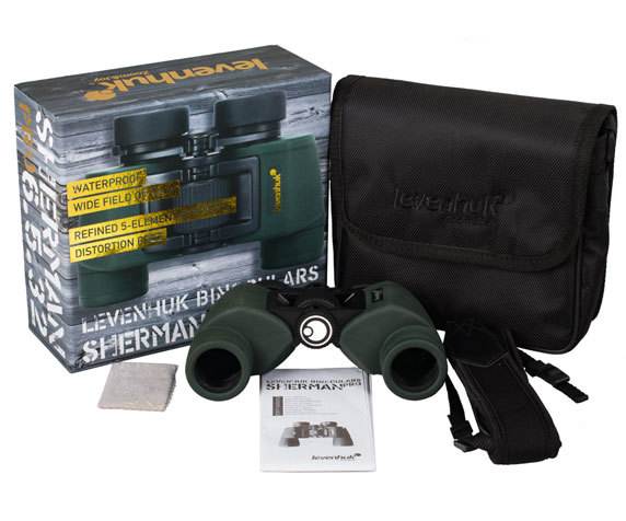 Комплект поставки Levenhuk Sherman Pro 6,5x32, темно-зеленого цвета