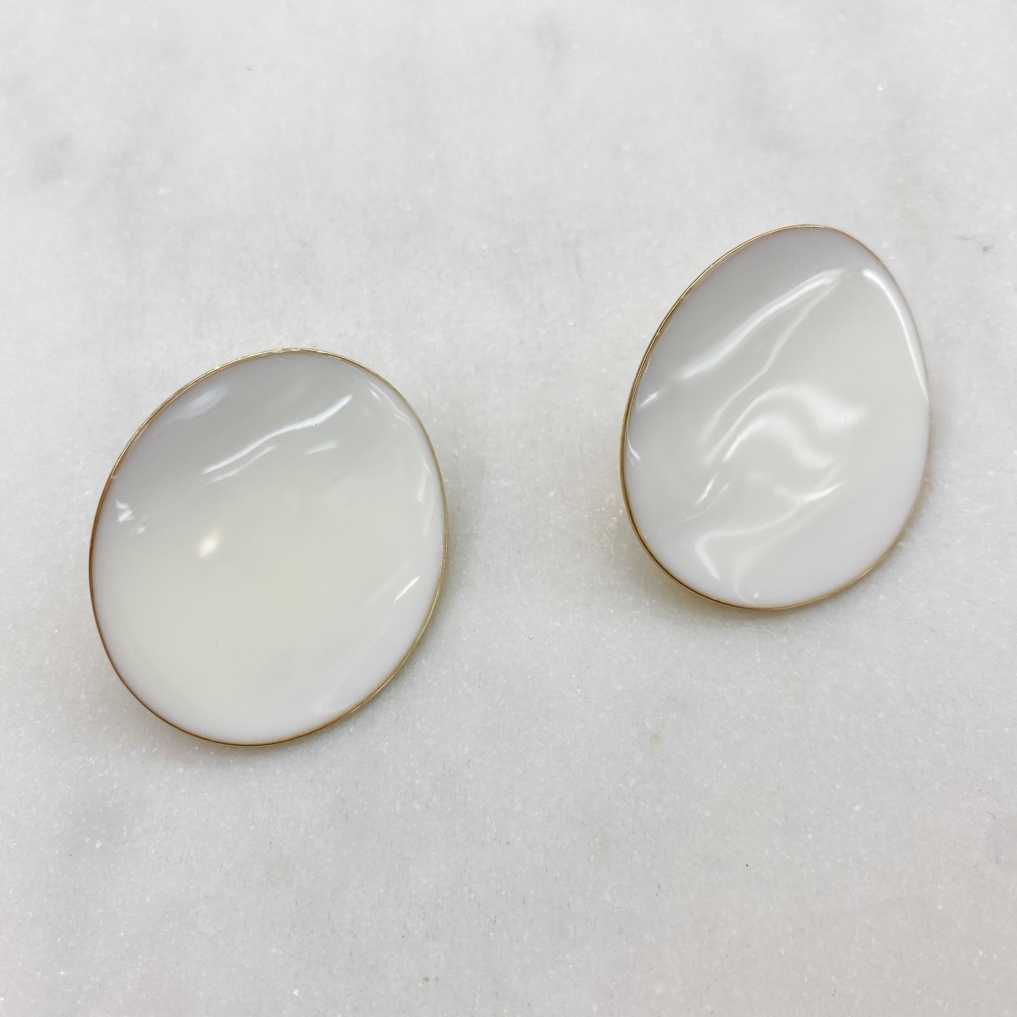 Серьги Овалы эмаль ш925 (белый)
