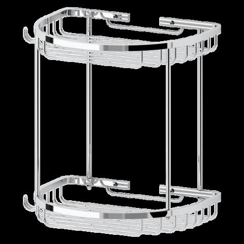 Полочка-решетка 2-х уровневая полукруглая 26х26 см RYNA   RYN011 FBS