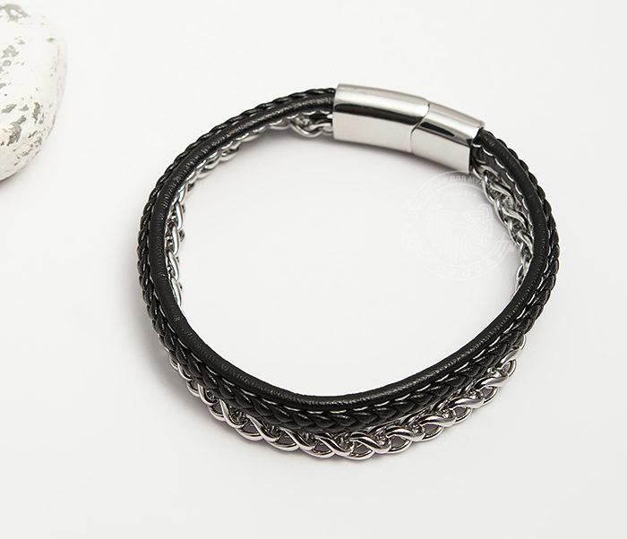 BM421 Оригинальный браслет из кожи и стальной цепочки (20,5 см) фото 02