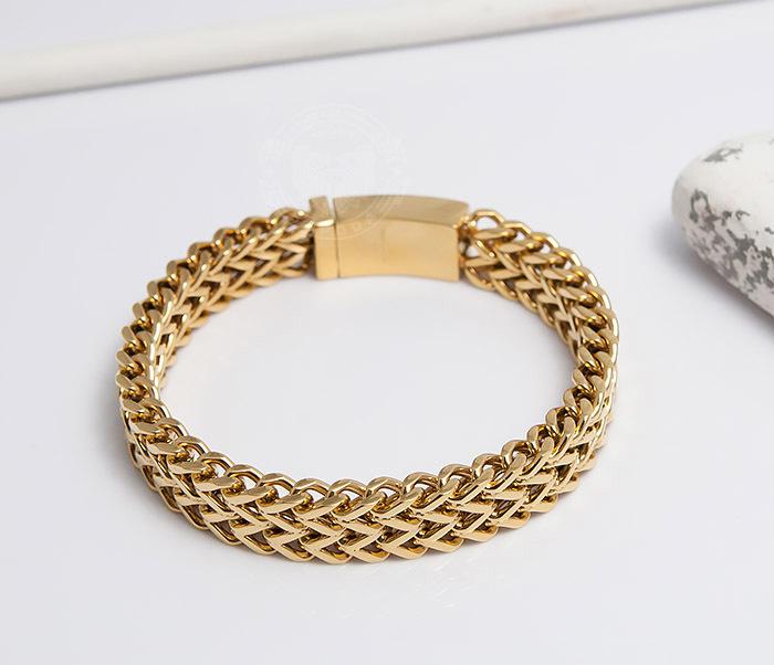 BM477 Массивный мужской браслет золотого цвета (21 см) фото 04
