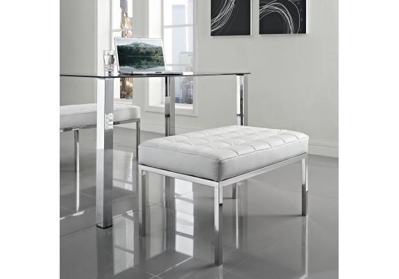 Скамья Florence Knoll Style Bench белая кожа - вид 2