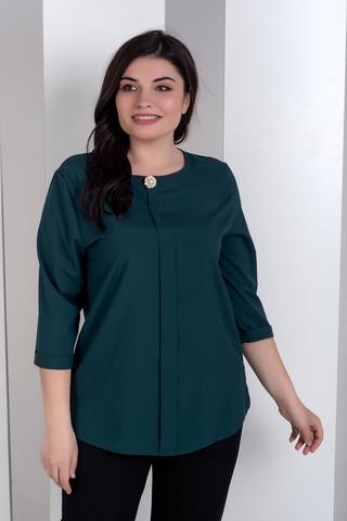 Ліза. Стильна блуза великих розмірів. Смарагд