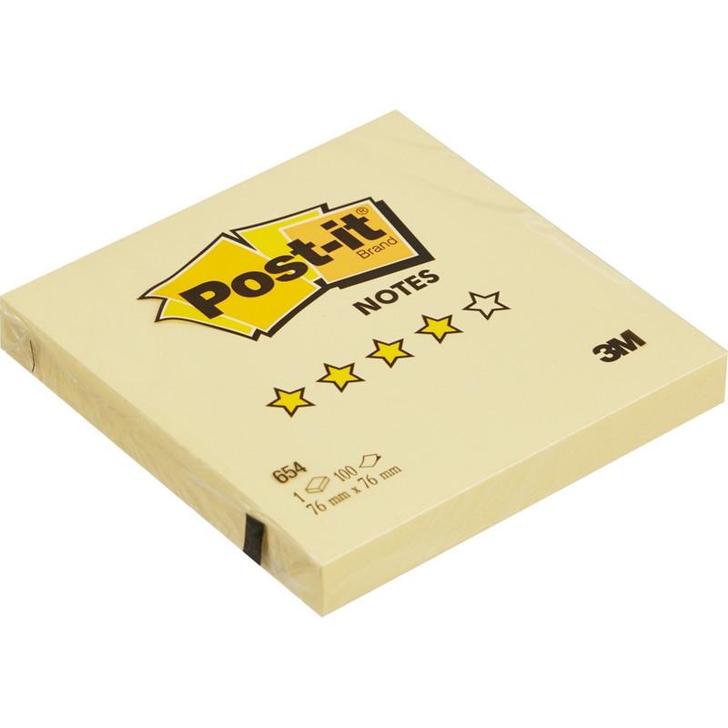 Стикеры Post-it Original 76x76 мм пастельные желтые (1 блок, 100 листов)