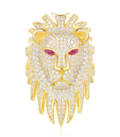 A18506 - Кольцо Голова Льва из серебра  в лимонной позолоте в стиле APM MONACO