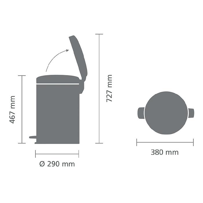 Мусорный бак newicon (20 л), Стальной полированный, арт. 113987 - фото 1