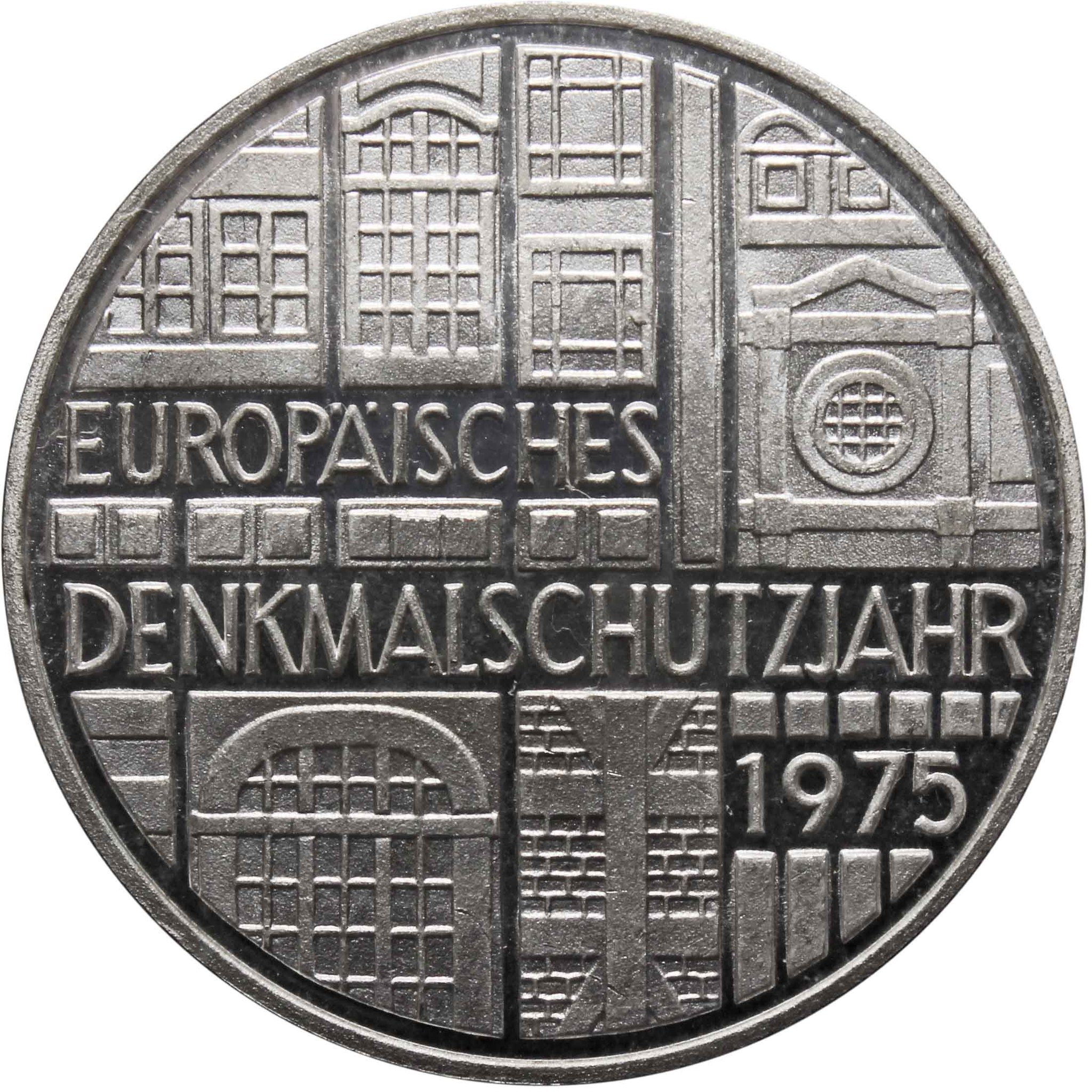5 марок. Европейский год охраны памятников. Германия. (F). Серебро. 1975 год. PROOF